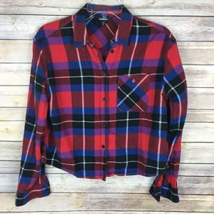 Express Knit Top Small Red Blue Plaid Long Sleeve